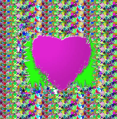 Poster featuring the photograph Sensual Pink Heart N Star Studded Background by Navin Joshi