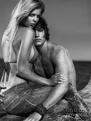 Sensual Portrait Of A Young Couple On The Beach Black And White Poster by Oleksiy Maksymenko