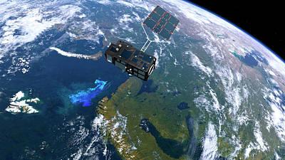 Sentinel-3 Satellite In Orbit Poster by Atg Medialab/esa
