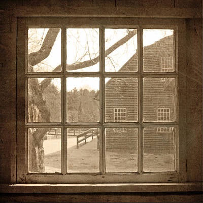 Sepia Colonial Scene Through Antique Window Poster
