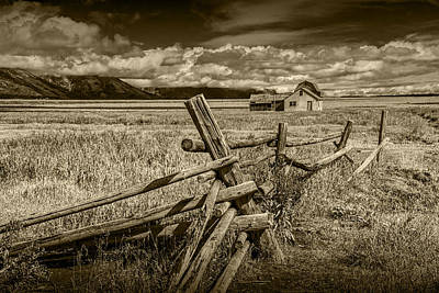 Sepia Colored Photo Of A Wood Fence By The John Moulton Farm Poster