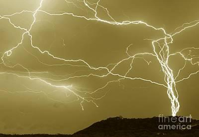 Sepia Converging Lightning Poster