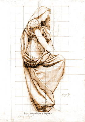 Sepia Drapery Study 1896 Poster by Padre Art