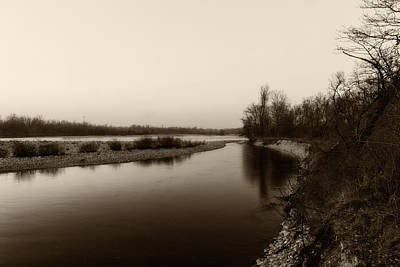 Sepia River Poster