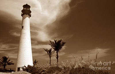 Sepia Tone Cape Florida Light Poster by Skip Willits
