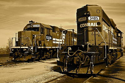 Sepia Trains Poster by Frozen in Time Fine Art Photography