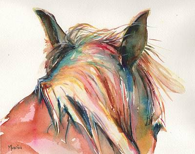 Horse Painting In Watercolor Serendipity Poster by Maria's Watercolor