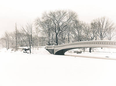 Serenity - Bow Bridge In The Snow - Central Park Poster