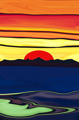 Serenity Lake Sunset Poster by Haleh Mahbod