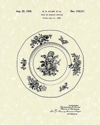 Serving Dish 1939 Patent Art Poster by Prior Art Design