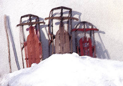 Poster featuring the photograph Set Aside Sleds by Susan Crossman Buscho