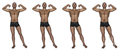 Set Of Four Men Showing Progression Poster by Elena Duvernay