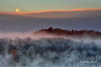 Setting Moon Over Foggy Lake Poster