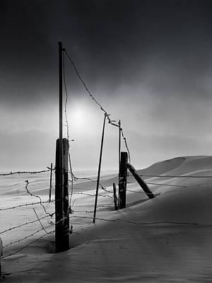 Setting Sun Over Drifting Snow North Dakota Winter Poster by Donald  Erickson