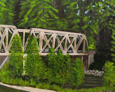 Poster featuring the painting Sewalls Falls Bridge by Linda Feinberg
