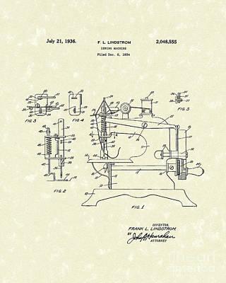 Sewing Machine 1936 Patent Art Poster