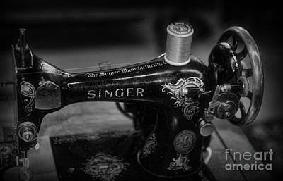 Sewing Machine - Singer Sewing Machine In Black And White Poster