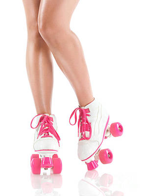 Sexy Girl Legs In White Pink Roller Skates Poster
