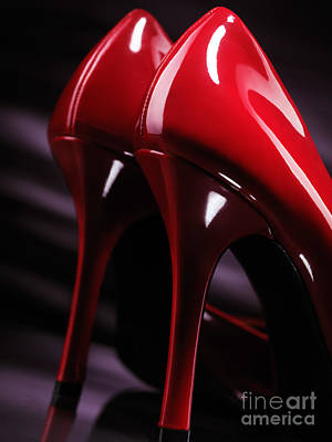 Sexy Red High Heel Shoes Closeup Poster