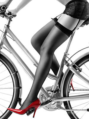 Sexy Woman In Red High Heels And Stockings Riding Bike Poster
