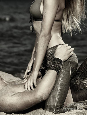 Sexy Young Couple Making Love On The Beach Black And White Poster