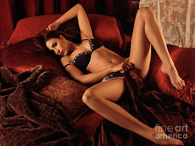 Sexy Young Woman Lying In Bed Poster by Oleksiy Maksymenko
