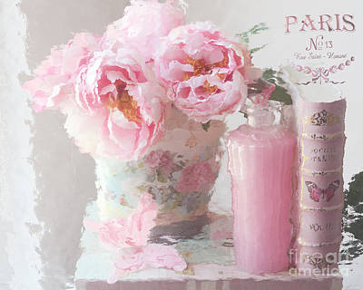 Shabby Chic Cottage Pink Parisian Peonies - Romantic French Impressionistic Pink Peonies Poster