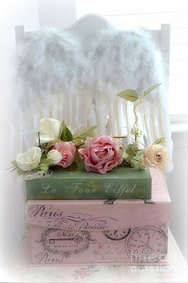 Shabby Chic Dreamy Cottage Roses With Romantic Paris Books And Angel Wings On White Chair Poster by Kathy Fornal