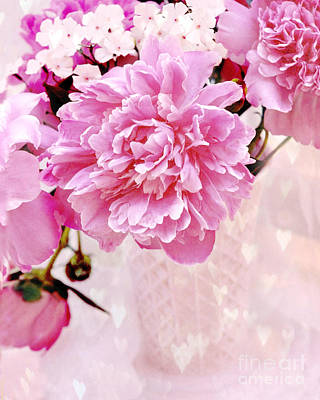 Shabby Chic Pink Peonies In Pink Vase - Dreamy Romantic Pastel Pink Peonies   Poster