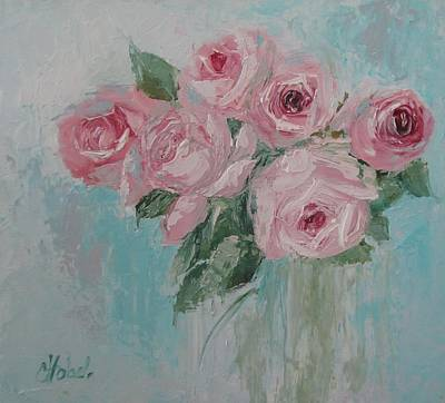 Shabby Chic Pink Roses Oil Palette Knife Painting Poster