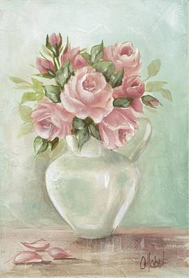 Shabby Chic Pink Roses Painting On Aqua Background Poster by Chris Hobel