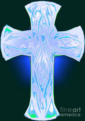 Shades Of Blue And Green Abstract Cross Poster by Minding My Visions by Adri and Ray