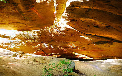 Shades Of Light Shadow And Texture On Cliff Wall Poster by Optical Playground By MP Ray