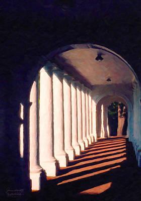 Poster featuring the digital art Shadows University Of Virginia by Spyder Webb