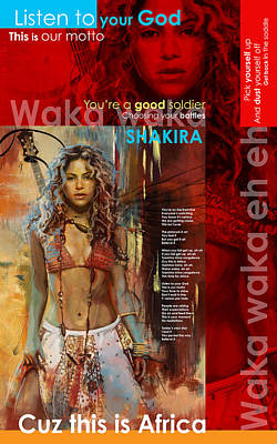 Shakira Art Poster Poster by Corporate Art Task Force