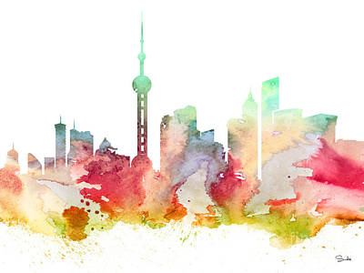 Shanghai Poster by Watercolor Girl