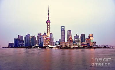 Shanghai Pudong Cityscape At Sunset Poster by Fototrav Print