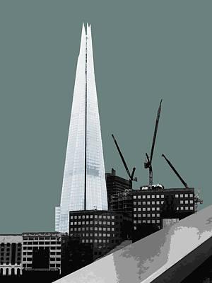 Shard - Blue Grey Poster by Big Fat Arts