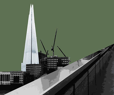 Shard - Olive Green Poster by Big Fat Arts