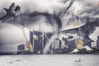 Poster featuring the photograph Sharknado Detroit by Nicholas  Grunas