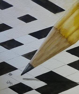 Poster featuring the painting Sharpen Your Pencil For This Puzzle by Kelly Mills