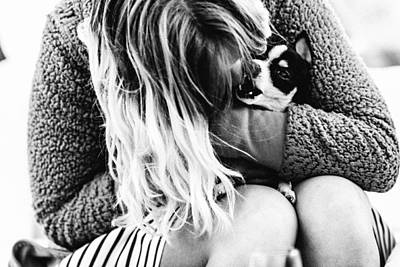 She And Her Dog Poster by Alyaksandr Stzhalkouski