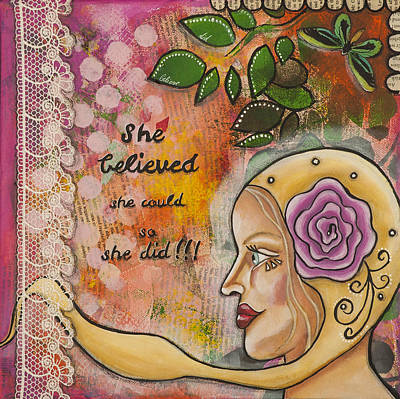 She Believed She Could So She Did Inspirational Mixed Media Folk Art Poster