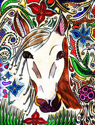 She Grazes Where Flowers Grow - Horse Poster