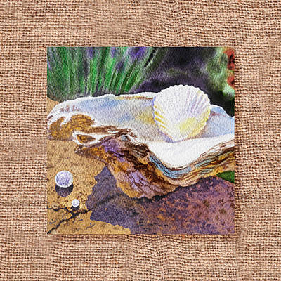 She Sells Sea Shells Decorative Design Poster by Irina Sztukowski