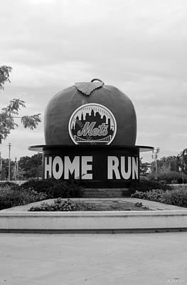 Shea Stadium Home Run Apple In Black And White Poster by Rob Hans