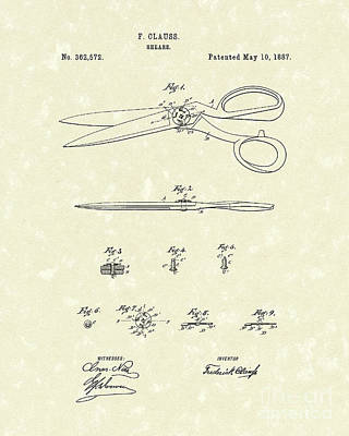 Shears 1887 Patent Art Poster by Prior Art Design