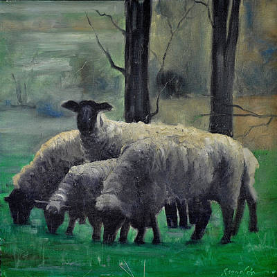 Poster featuring the painting Sheep Family by John Reynolds