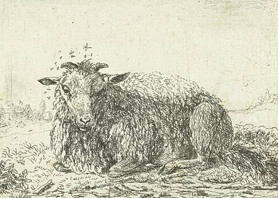 Sheep Flying, Jacob Van Der Does I, Karel Dujardin Poster by Jacob Van Der Does (i) And Karel Dujardin