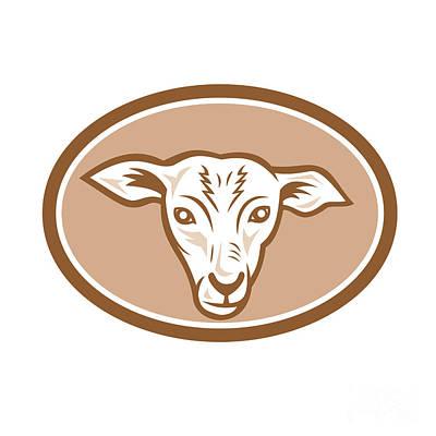 Sheep Head Oval Cartoon Poster